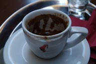 Julies Meidl cup of Turkish Coffee. Istanbul Cafe, Taksim.