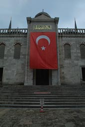 Turkish Flag, steps, Blue Mosque, Istanbul.