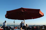 Seven Hills Restaurant, terrace, waiters and umbrella, Sultan Ahmed, Istanbul.