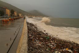 Inebulo, strong winds and waves pounding pier. Turkey, Black Sea coast.