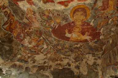 Rock church top frescoes. Madonna and child.