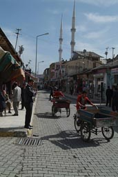 Ercis, street, Turkey, hand carts, mosque.