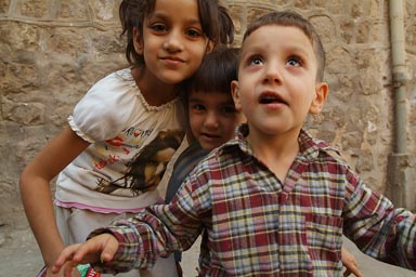 Mardin, excited children.