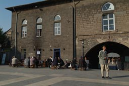 Cafe in front of the great mosque, Diyarbakir, Turkey.