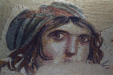 Gypsy girl, Gaziantep museum. Mosaic from the famous Zeugma, Roman city.