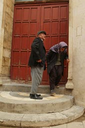 Old man shows us the mosque, former church. Gaziantep.
