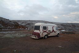 Camp and snow in morning near Yaprakhisor, Cappadokia.