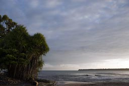 Morning Cahuita, Punta Cahuita in back, our destination. Costa Rica.