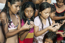 Children hold turtles in their hands, about to be released into the Pacific Ocean, El Zonte, El Salvador.