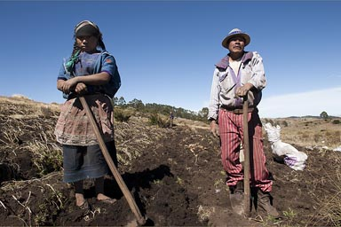 Mam man and daughter. Mam people in the Western Highlands, high at 3600m of altitude, potato farming.