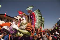 Feathers decorated floats. Carnival of Las Tablas, Panama.