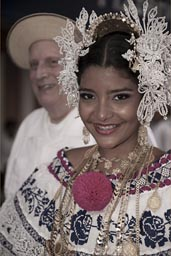 Smile of a queen. pollera, Carnival, Panama.