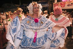 Panamanian woman in pollera all present and former carnival queens, Las Tablas, Panama.