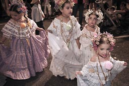 Girls dressed up as soon as they can walk, there is a long and expensive way to become carnival queen. Las Tablas, Panama.