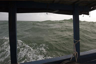 Rough ocean off Panama coast, crossing to Colombia.