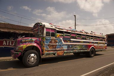 Graffiti painted on colorful Panama busses.