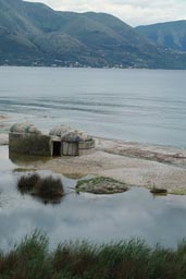 Bunkers on beach, Albania, south.