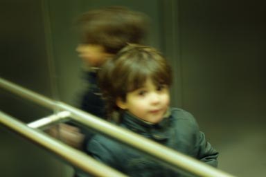 My boys in elevator.