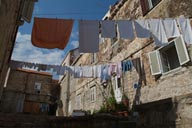 Hung up for drying, clothes, Dubrovnik.