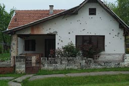 Croatia, north, war bullet riden houses.
