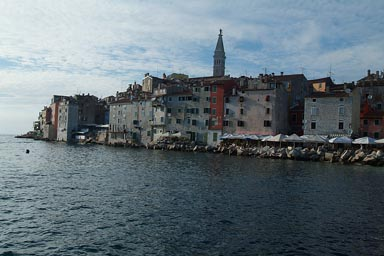Evening sets over Rovinj and sea.