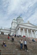 Following my boys up the steps of Helsinki Cathedral.