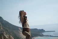 Christina posing on west Cretian coastal cliffs.