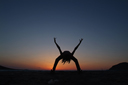 Dance, silhouette, sunset.