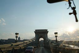 driving over Danube bridge in Budapest.