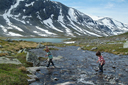 Boys in gum boots, Norway, Strynefjellet.