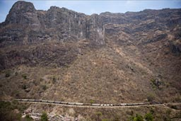 Ferromex freight train  through Septentrion Canyon, photo taken from Chepe.