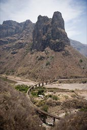 Chepe track winding up Septentrion Canyon, Sierra Madre  Occidental.