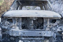 Burnt out Ford Explorer.