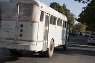 Old white bus in Los Mochis.