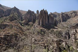 Canyon walls where Recowata Hot Springs are, Copper Canyon.