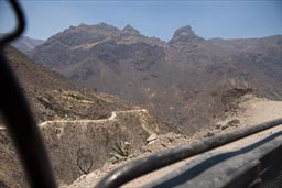 Batopilas Canyon view from back of pick-up truck.
