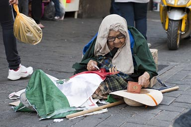 The street Guadalajara, old begging woman.