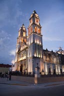Night falls, Campeche Cathedral.
