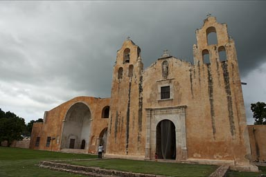 Mani church, Yucatan, Mexico. Ringing the church bells.