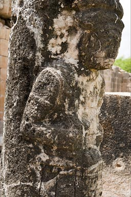 Carved Warrior Column in Oxkintok, Maya site, Yucatan.