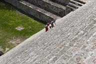 La Gran Piramide, boys on steps. Uxmal.