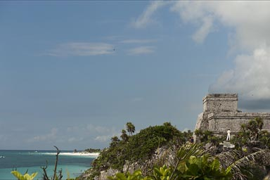 Tulum, ruins over sea.