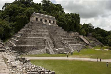 Temple of Inscriptions, Palenque. An an incredible tomb with a decorated sarcophagus lid, was excavated from the heart of the pyramid together with countless hieroglyphic inscriptions that form together the longest Maya text.