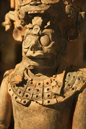 Wooden statue of Maya god, ruler or  warrior. Palenque museum.