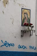 Taxco house wall, Graffiti under Madonna of Guadalupe, and red flowers.