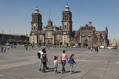 Zocalo and cathedral, Mexico City.