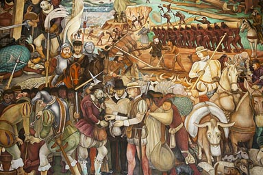 Spanish conquest and enslavement. Palacio Nacional mural by Diego Rivera.