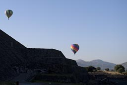 Ballons rise over Pyramid of the Sun. Teotihuacan, Mexico.