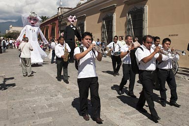 A band, a marriage procession, Oaxaca..