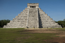 Front, west view of great pyramid, Chichen Itza, Yucatan. Watch the the snake like shape of the shade on the steps.